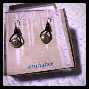 Sundance leather and sterling earrings